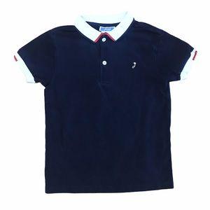 Jacadi boys navy blue white red shirt sleeve polo